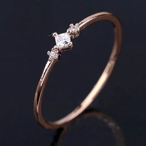 NEW Rose Gold Square Cubic Zircon Diamond Ring